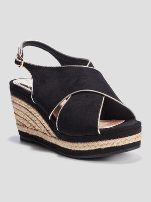 Sandales compensees noir femme