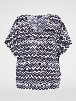 T shirt imprime avec collier noir femme