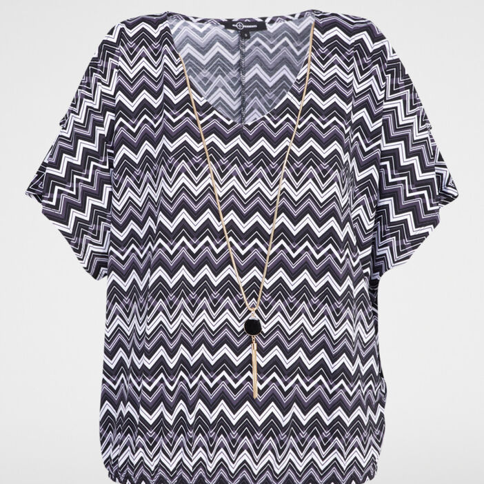 T-shirt imprimé avec collier femme noir