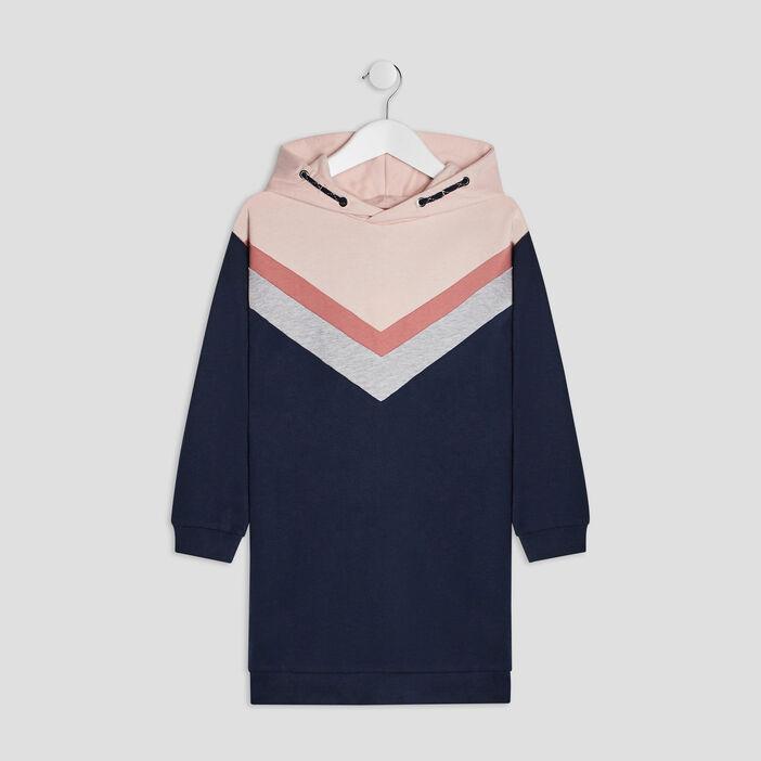 Robe droite à capuche fille bleu marine