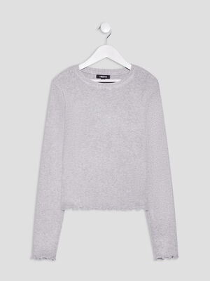 Pull manches longues Liberto gris fille