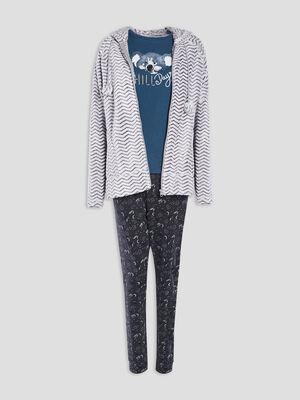 Gilet de pyjama a capuche bleu canard femme