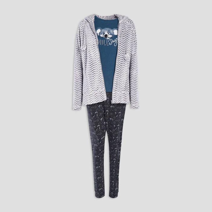 Gilet de pyjama à capuche femme bleu canard