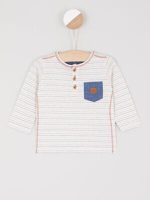 T shirt raye col tunisien multicolore garcon