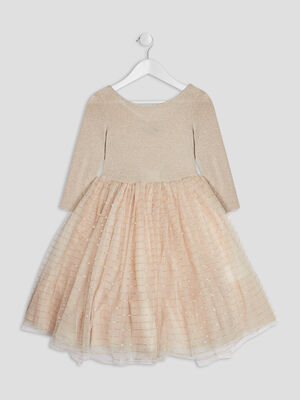 Robe patineuse a paillettes beige fille