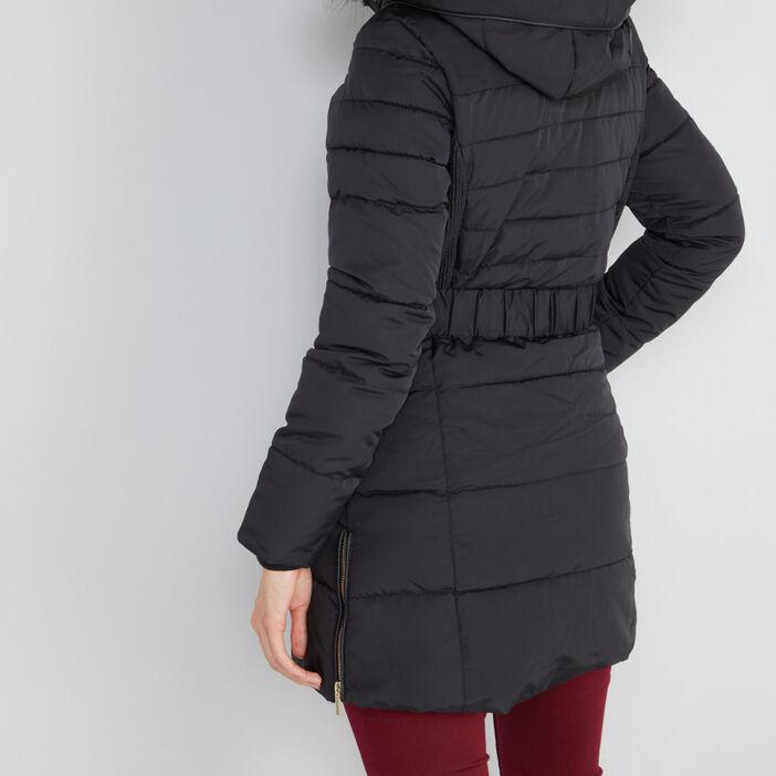 Doudoune capuche unie bordure fourré femme noir