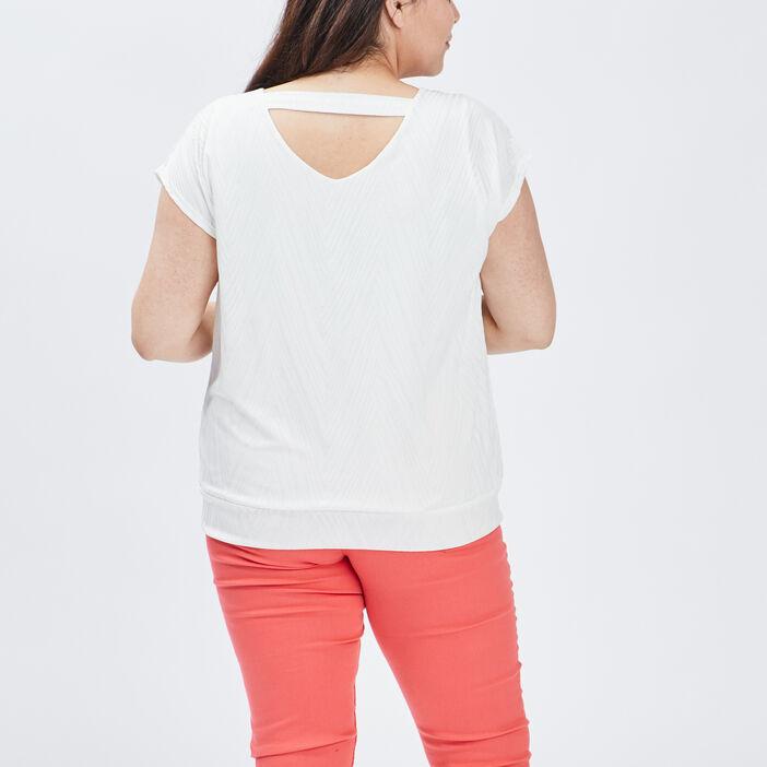 T-shirt manches courtes femme grande taille ecru
