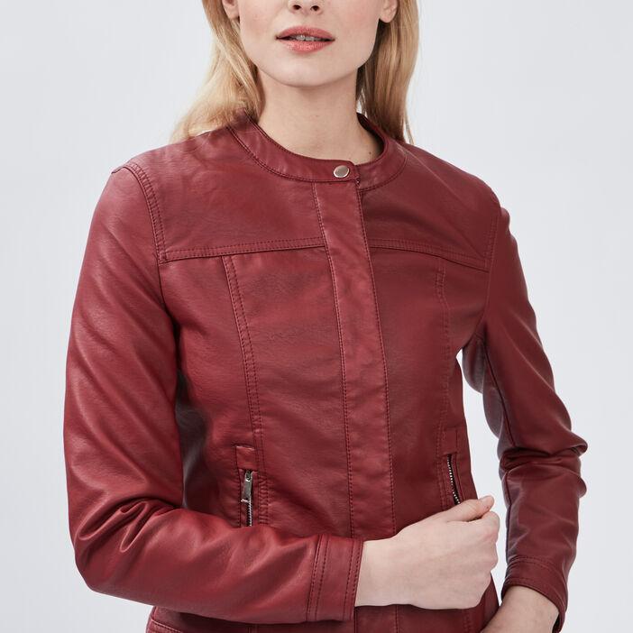 Blouson simili cuir ajusté à col rond femme bordeaux