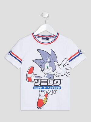 T shirt manches courtes Sonic blanc garcon