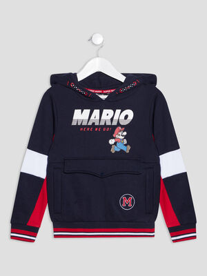 Sweat a capuche Mario bleu marine garcon