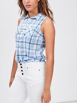 Chemise sans manches bleu femme