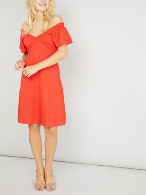 Robe cintree col V smocke orange femme