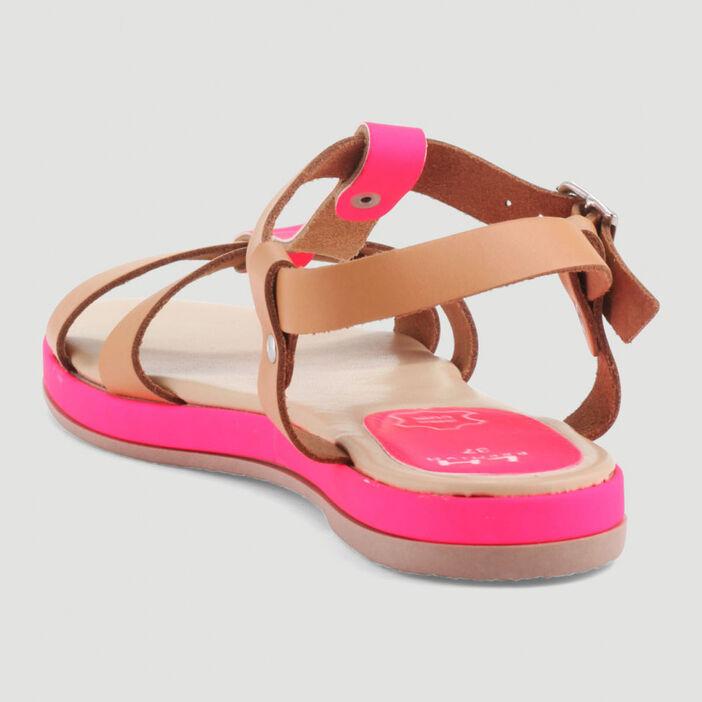 Sandales bicolores dessus cuir femme rose