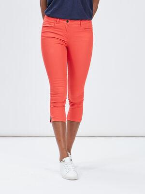 Pantacourt slim orange corail femme
