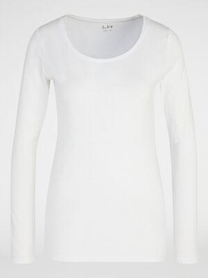 T shirt uni a manches longues blanc femme