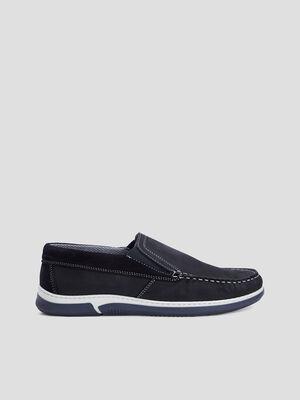 Loafers cuir nubuck semelle sport bleu homme