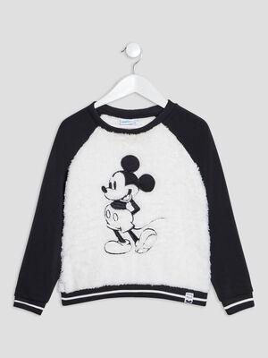 Sweat manches longues Mickey ecru fille