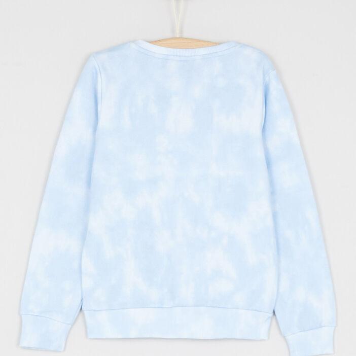 Sweatshirt Snoopy imprimé placé fille bleu ciel