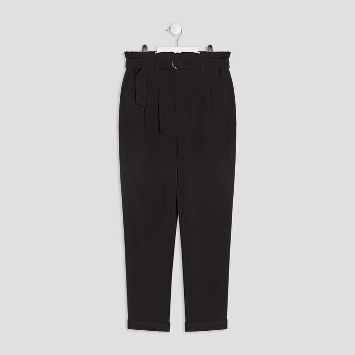 Pantalon paperbag ceinturé fille noir