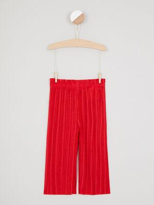 Pantalon large plisse taille elastiquee rouge fille
