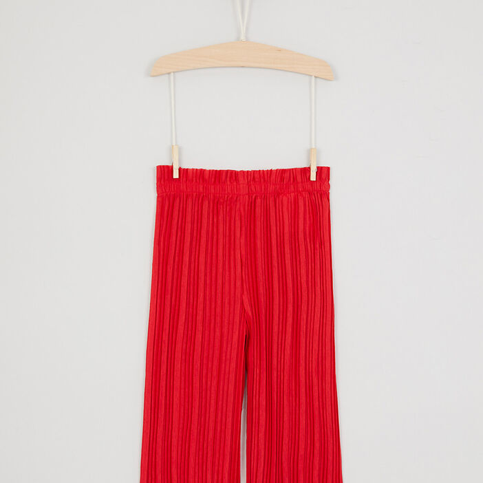 Pantalon large plissé taille élastiquée fille rouge