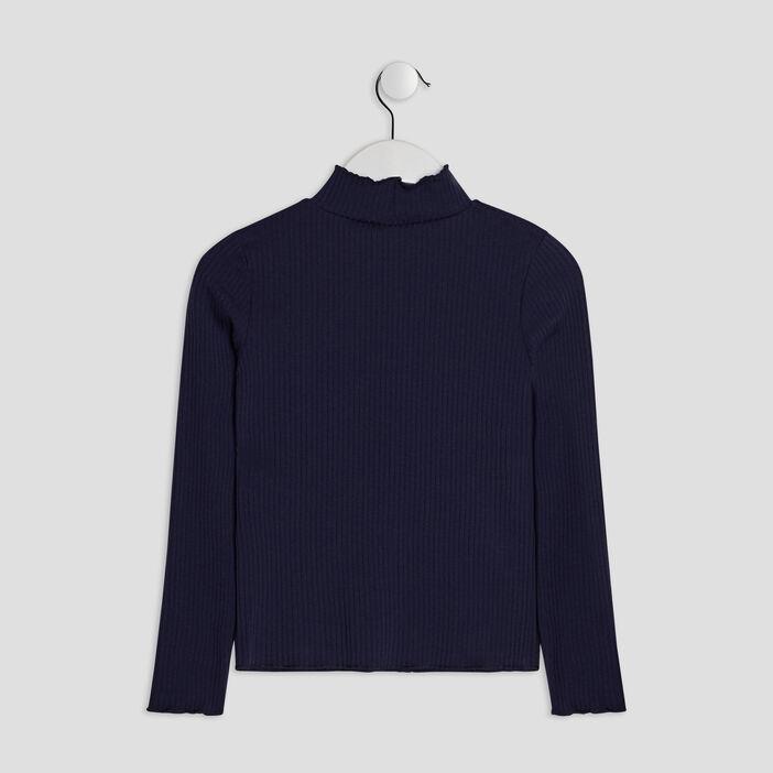 T-shirt manches longues côtelé fille bleu marine