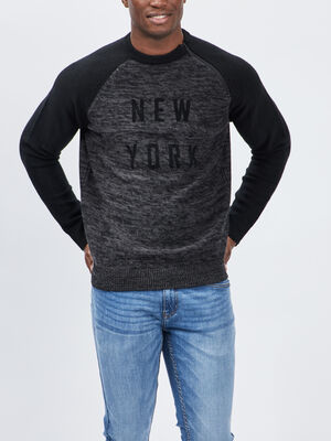 Pull avec col rond gris fonce homme