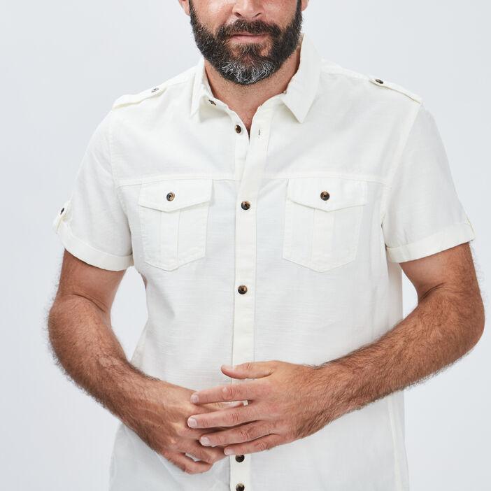 Chemise manches courtes homme ecru