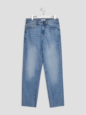 Jeans straight denim double stone fille