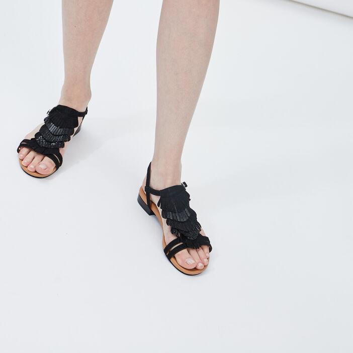 Sandales en cuir à franges femme noir