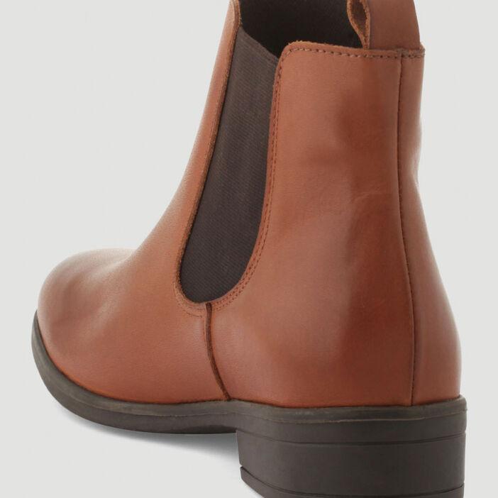 Bottines chelsea plates en cuir femme marron clair