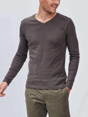 T shirt manches longues gris fonce homme
