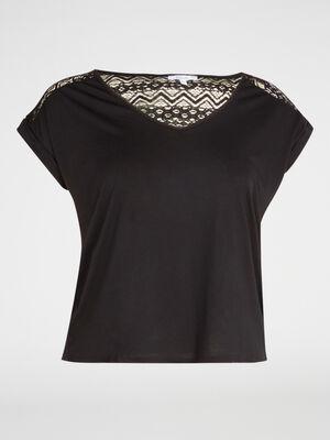 T shirt avec dentelle fantaisie noir femme