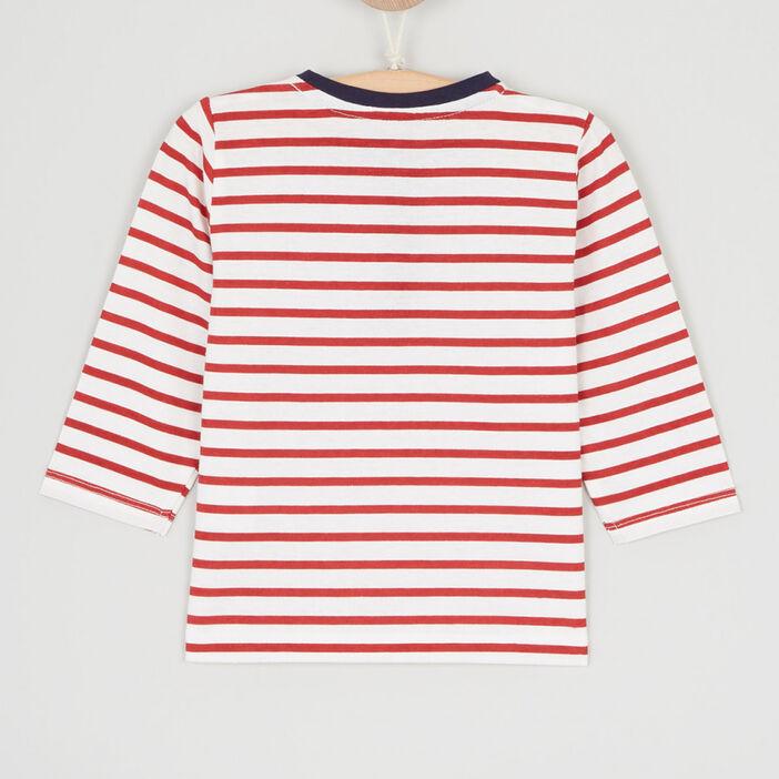 T-shirt col tunisien 2 boutons garçon rouge