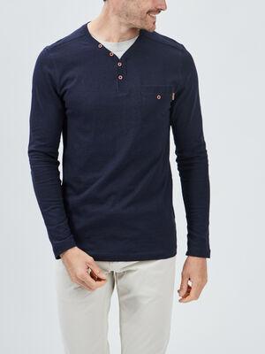 T shirt manches longues Creeks bleu marine homme