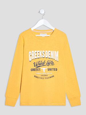 T shirt manches longues Creeks jaune moutarde garcon