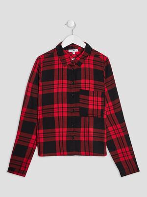 Chemise manches longues rouge fille