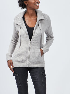 Gilet manches longues zippe gris clair femme