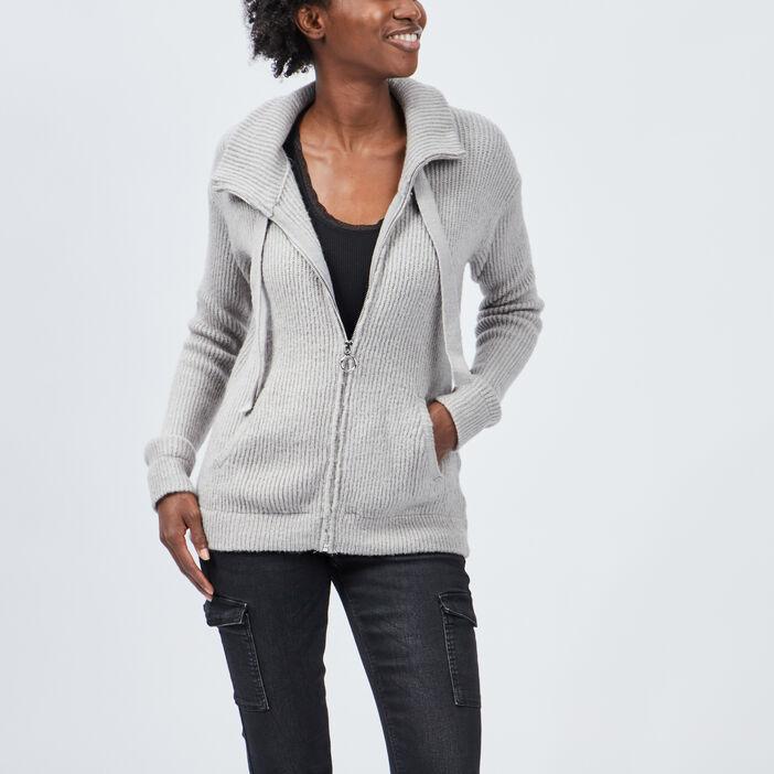 Gilet manches longues zippé femme gris clair
