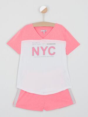 Pyjama short coton avec bandes orange corail fille
