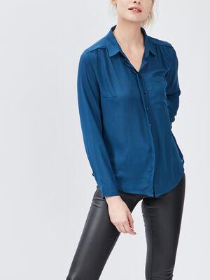 Chemise manches longues bleu canard femme