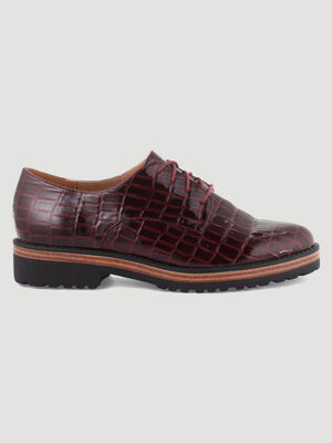 Derbies python semelle decorative bordeaux femme