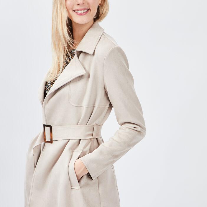 Manteau droit ceinturé suédine femme beige