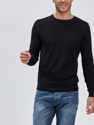 Pull col rond maille unie noir homme