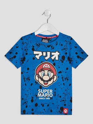 T shirt manches courtes Mario bleu garcon