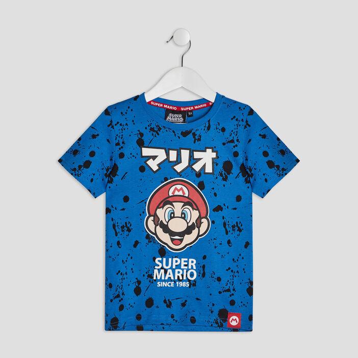 T-shirt manches courtes Mario garçon bleu