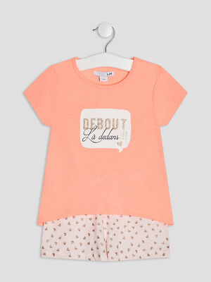 Ensemble pyjama 2 pieces rose fluo fille