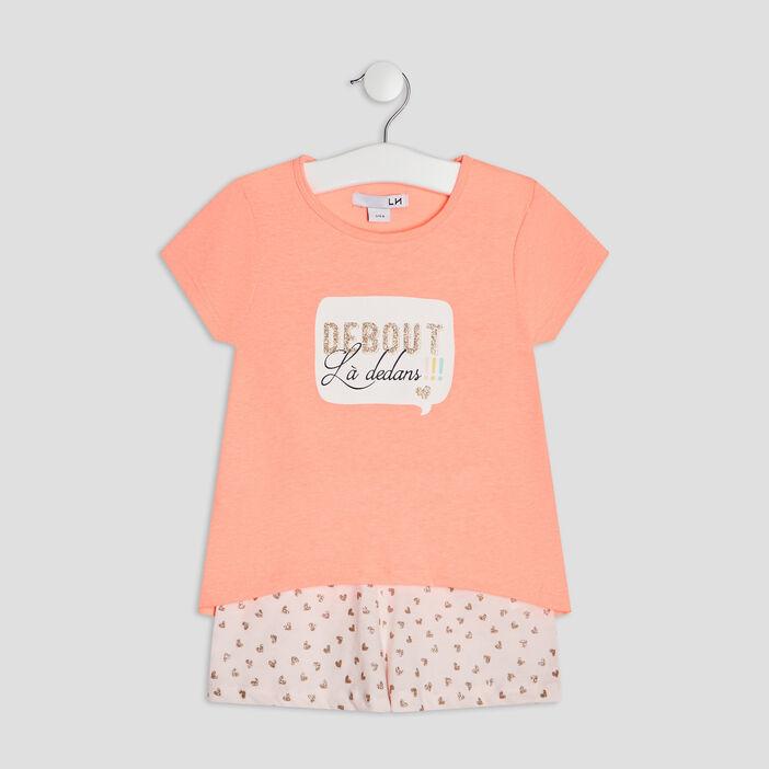 Ensemble pyjama 2 pièces fille rose fluo