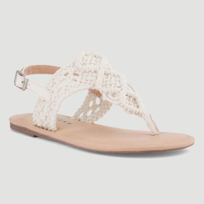 Sandales dessus bimatière style crochet femme blanc