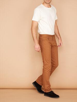 Pantalon droit coton uni marron clair homme